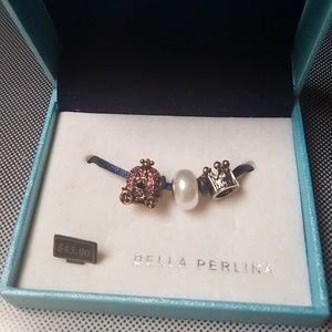 Bella perlink 3 charms princess coach crown pearl
